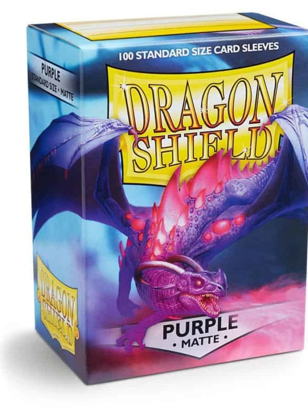 Purple matte - mørkelilla kortlommer fra dragon shield 100 stk.